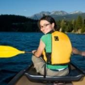 A girl in a canoe.