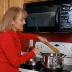 a woman cooking with sherry