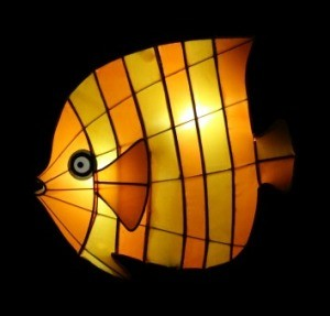 Glowing fish lantern centerpiece.