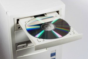 CD or DVD in a computer drive.