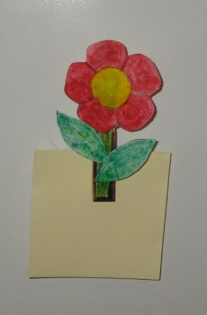 Spring Flower Photo or Note Magnet - Notepad in clip.