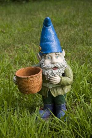 A gnome in a garden.