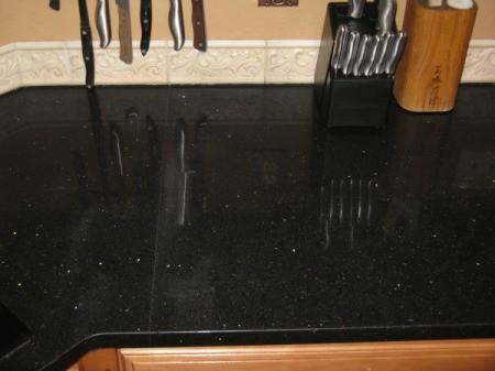 Black countertop.