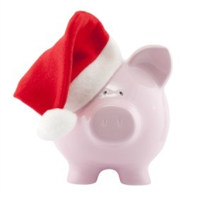 A piggy bank wearing a stocking.