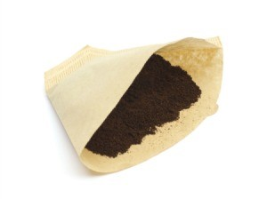 Coffee filter with coffee in it.