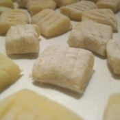 Gnocchi ready to boil.
