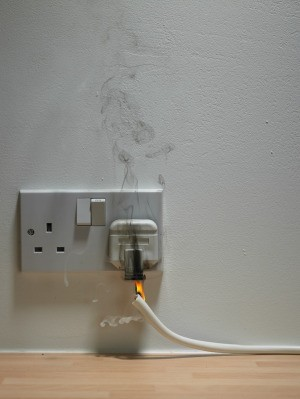 A smoking outlet, the start of a house fire.
