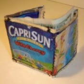 A wallet made from Capri Sun pouches.