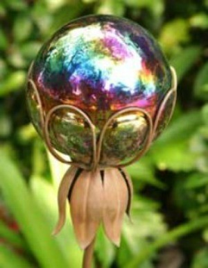A gazing ball in a garden.