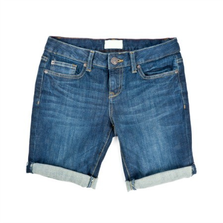 Shorts made from blue jeans.