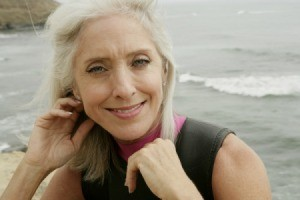 woman with long gray hair.