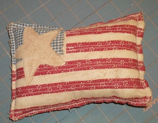Primitive Applique Flag Pillows - Stained to age.