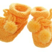 Orange Crocheted Baby Slippers