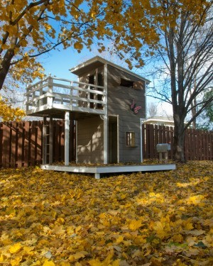 Two story backyard playhouse.
