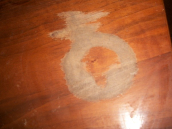 White cloudy mark on dining table. Fixing Wood Furniture Damaged by Household Cleaners   ThriftyFun
