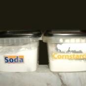 Labeled Soda and Cornstarch in square plastic boxes.