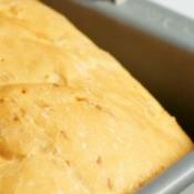 bread loaf in a bread machine pan