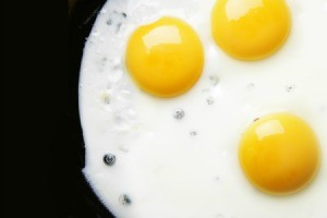 Eggs cooking on an electric griddle.