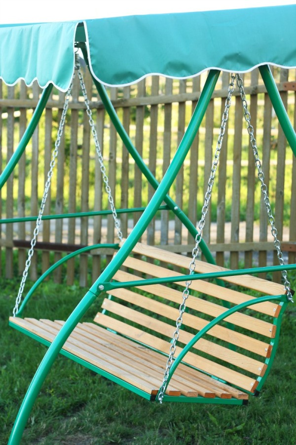 Time and the elements can take their toll on the fabric canopy of your outdoor swing. Rather than purchasing an entirely new swing you can replace the ... & Replacing the Canopy on a Patio Swing | ThriftyFun