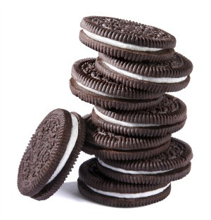 Stack of Oreo cookies, one of the ingredients in buster bar dessert.
