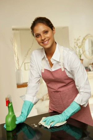 A female house cleaner.