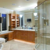 Nice bathroom with a glass shower door.
