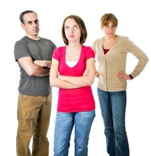 Disrespectful teen and her parents.