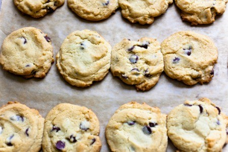 Flat Chocolate Chip Cookies