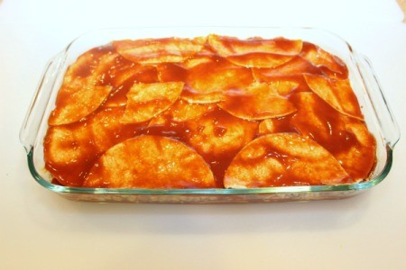 top with enchilada sauce