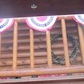 Banner on railing.