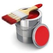 paint can with red paint
