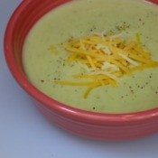 A bowl with potato leek soup made in the crockpot.