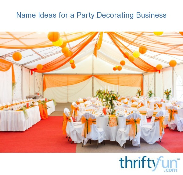 name ideas for a party decorating business