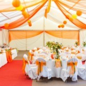 A nicely decorated wedding reception.