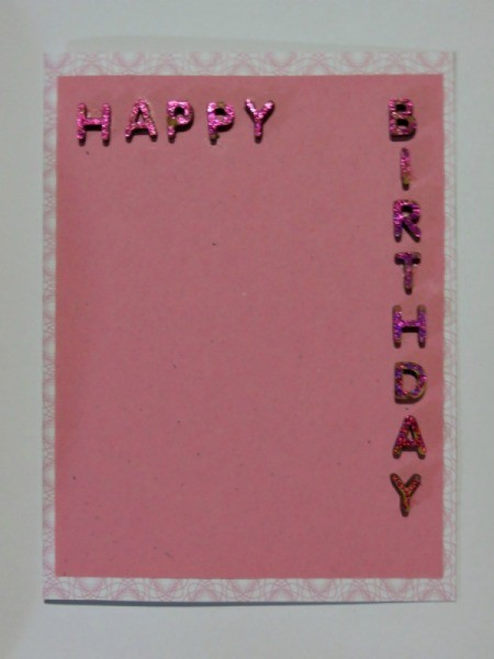 Glue letters to front of card.