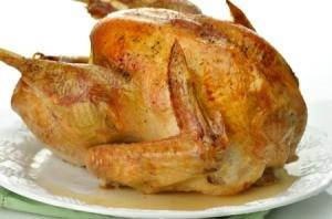 An unstuffed roasted turkey.