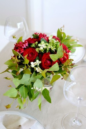 Beautiful red rose centerpieces.