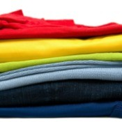 A colorful stack of new clothing.