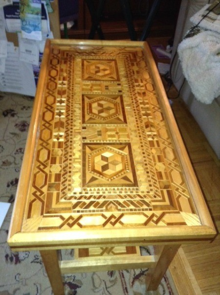 Beautiful pieced wooden table.