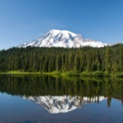 Photo of a Mt. Rainier in Reflection Lake.