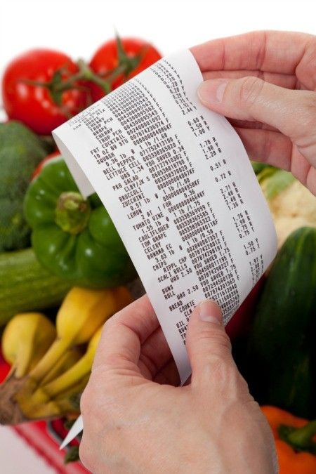 Looking at a grocery receipt.