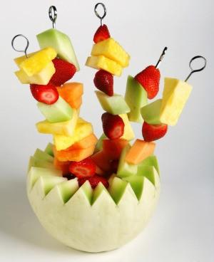 serving fruit kabobs