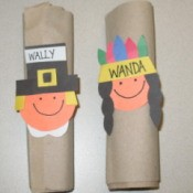 Thanksgiving kids project with Pilgrim and native American faces for napkin rings.