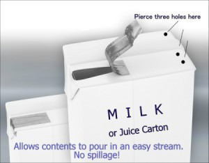 Piercing Cartons for Easy Pouring
