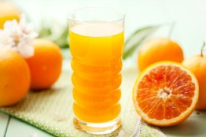 Orange juice and oranges.