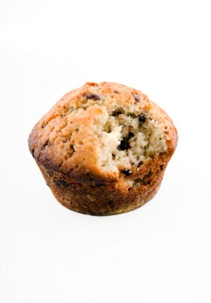 Muffin with a bite out of it.