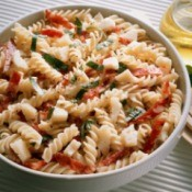 Pasta salad made with leftover past.