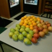 Three varieties of pears.