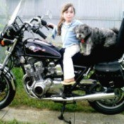 Yoda (Shih Tzu) - Young girl and dog sitting on a motorcycle.
