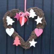 Heart shaped wreath on a door.